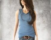 Tank top blue/keyhole front ties/sleeveless knit