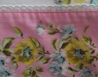 Vintage Montgomery Ward Pink Yellow Aqua Blue Floral Eyelet Lace Twin Flat Bed Sheet