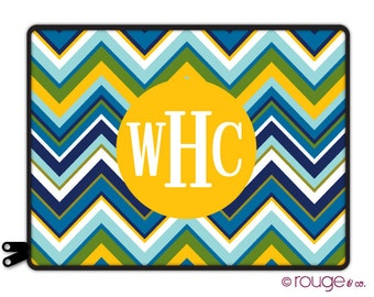 "BLUE MULTI CHEVRON personalized laptop sleeve 13"" or 15"" with monogram - elastic tabs lets you keep the sleeve on while you work"