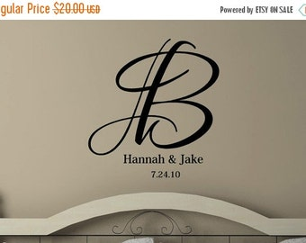 15% OFF Personalized Monogram Initial  Name Est Date- girls Vinyl Lettering wall words graphics Home decor itswritteninvinyl