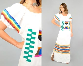 70's Embroidered AZTEC Dress