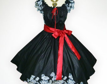 Black Vintage Flower 50s Pin up Rockabilly Swing Dress Full Swing Skirt Regular and Plus Size