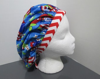 Patriotic Bird Houses with Coordinating Red and White Chevron Bouffant Surgical Scrub Cap