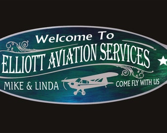 This beautiful Airplane #101 Sign is our custom personalized aluminum Side Mounted painted sign.