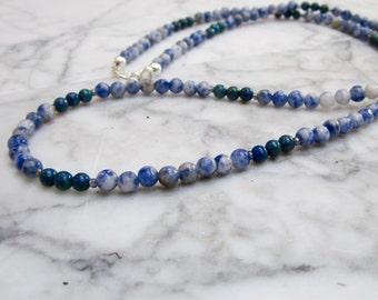 Natural Blue Stones  - Petite 4mm Genuine Sodalite and Azurite Throat, Brow, Third-eye Chakra Necklace