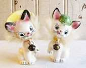 Vintage Cat Salt and Pepper Set with Real Fur - Mid-Century Kitten Salt & Pepper - Commodore Made in Japan - Anthropomorphic