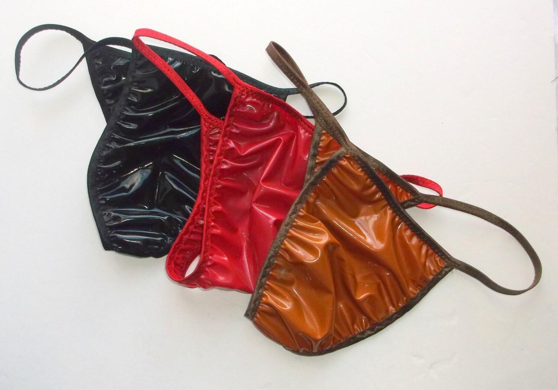Mens Rio String Bikini Thong LATEX RUBBER Shiny Jelly Colors