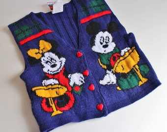Vintage 80's Kids Mickey Mouse Sweater Vest - Minnie and Mickey Mouse - Disney Sweater - Kids Ugly Sweater
