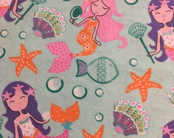 Sweet Mermaids - Cotton FLANNEL Fabric