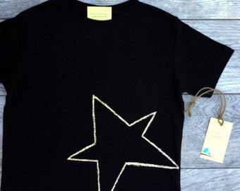 Star - Gold Star - Shimmering  Star -Toddler T-Shirt - Black T-shirt