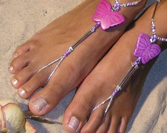 Happi Feet, Butterfly barefoot sandals, destination wedding shoes, beach wedding shoes, The Purple Butterflies HF115
