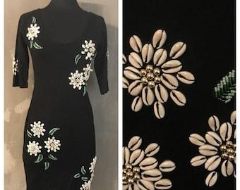 40% OFF Vintage 1990s Black Beaded Cowry Shell Tropical Honeymoon Bodycon Amber Lane Dress S