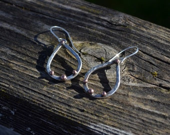 Mixed Metal Sterling Silver and Copper Tear Drop Hoop Earrings