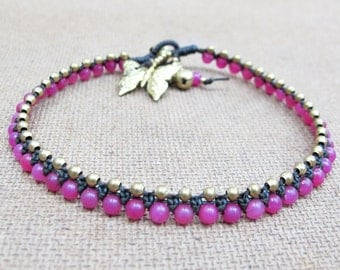 Charm Anklet - Beaded Pink Quartz Ankle Bracelet with Butterfly in Brass Bead.