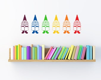 Gnome Wall Decals, multicolor set of 6