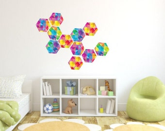 geometric wall decalhexagon decalscolorful hexagon stickerskids room decornursery - Design Stickers For Walls