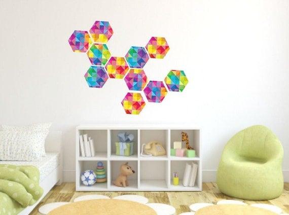 Wall Decor Hexagon : Geometric wall decalhexagon decalscolorful hexagon