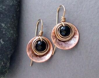 Black Onyx Earrings Copper and Bronze Earrings Rustic Natural Earthy Artisan Handmade Jewelry