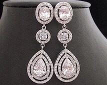Wedding Earrings Tear Drop Cubic Zirconia Prom Pageant Jewelry Bridal Wedding Jewelry Glamorous Bling
