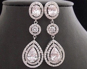 Wedding Earrings Tear Drop Cubic Zirconia Prom Pageant Jewelry Bridal Wedding Jewelry Glamorous Bling