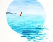 Original watercolour painting vignette summer sailing ocean scene minature