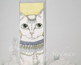 Fantasy Angel Cat art bookmark, big eyes, cat lover gift, white cat, Egyptian feline