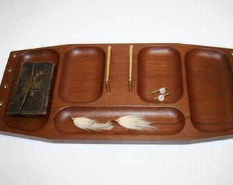 Vintage Dresser Valet Tray Genuine Mahogany by Shields