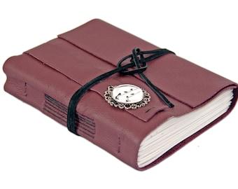 Burgundy Leather Journal - Leather Journal - Blank Journal - Prayer Journal - Bird Cameo - Wedding Journal - Art Journal - Diary -