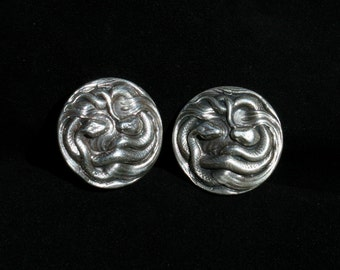 Sterling silver snake cufflinks pair of serpent heavy solid cuff links mens dress jewelry
