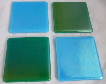Fused Glass Coasters with Iridescent Ocean Colours of Turquoise and Sea Green - set of 4