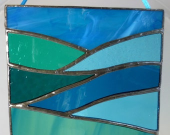 Stained Glass Blue Ocean Light Catcher