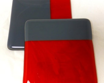 Fused Glass Bright PostBox Red and Elephant Grey  Coasters - set of 2