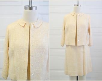 1960s Creamy Yellow Bouclé Skirt Suit