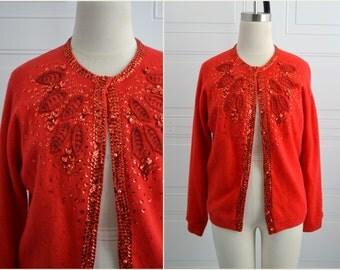 1950s Red Beaded Cardigan Sweater