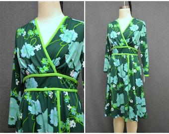 1960s Marek Green Floral Dress
