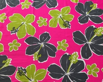 Lycra Fabric Hawaiian Hibiscus Floral Print Lycra Swimwear Dance Wear 4 Way Stretch Fabric Crafts Sewing Y16