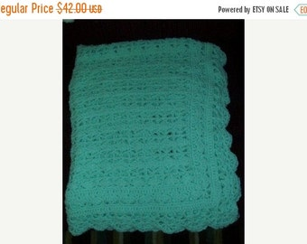 ON SALE Hand Made Crochet Baby Blanket Afghan - Heirloom Lace