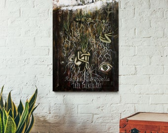 Large Mixed Media Painting - Surreal Painting of Spring - Mixed Media Winter Painting - Tall painting