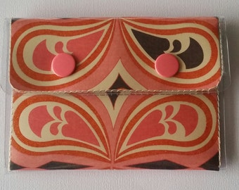 Cash/Card Wallet - 60's/Walla Wallat, flower power, peace sign, paisley, groovy, pink, orange, card and cash case, vinyl wallet, snap wallet