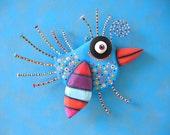 Bright Bluebird, MADE to ORDER, Original Found Object Sculpture, Wall Art, Wood Carving, Wall Decor, Bird Sculpture, by Fig Jam Studio