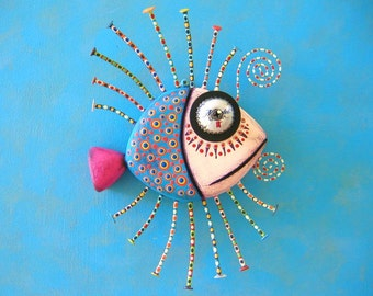 Twisted Guppy, Original Found Object Wall Sculpture, Wood Carving, Wall Decor, by Fig Jam Studio
