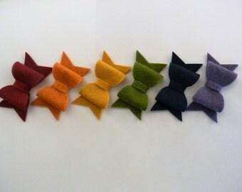 Autumn wool felt bow headband - your choice of colors
