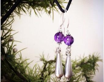 Amthyst granulated sterling earrings - NEW