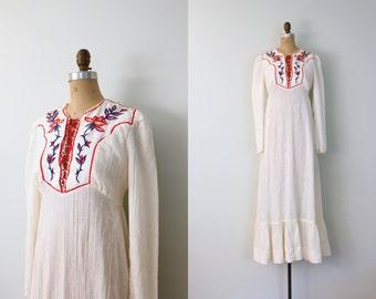 vintage 1960s . 70s hippie wedding maxi dress . hand embroidered ivory gauze / Candi Jones - 1970s - 60s festival / Boho - corset lacing