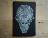 Arctic Muskox Black Notebook Moleskine Journal Hand Carved Linocut Men Dad Father's Day Gift Present