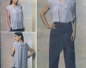 Vogue V1142 ISSEY MIYAKE Top and Pants Sewing Pattern Designer Blouse 1142 Plus Size 14, 16, 18 and 20 UNCUT