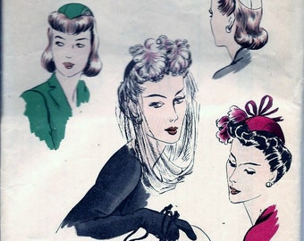 """ORIGINAL Vintage 1940s Vogue 9650 Hat And Drawstring Evening Purse Millinery Sewing Pattern 23"""" Head Size"""
