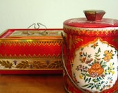 Togetherness: Pair of Knockout Ornate RED MURRAY ALLEN Vintage English Tins