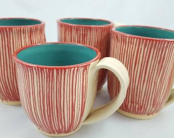 Turquoise red striped mug