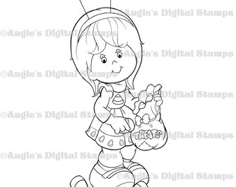 Daisy May With Treat Bag Digital Stamp Image